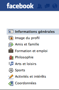 Interface Facebook - Modifier le profil
